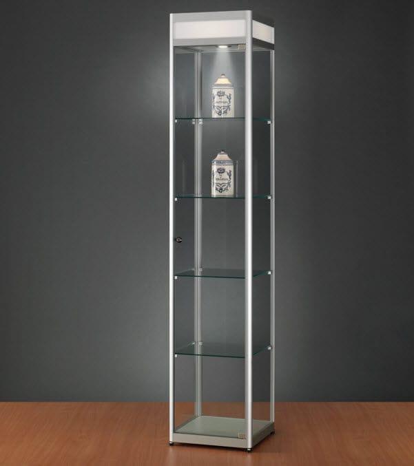 Moderne Vitrine / Glas / Holz / aus anodisiertem Aluminium - 114 ...