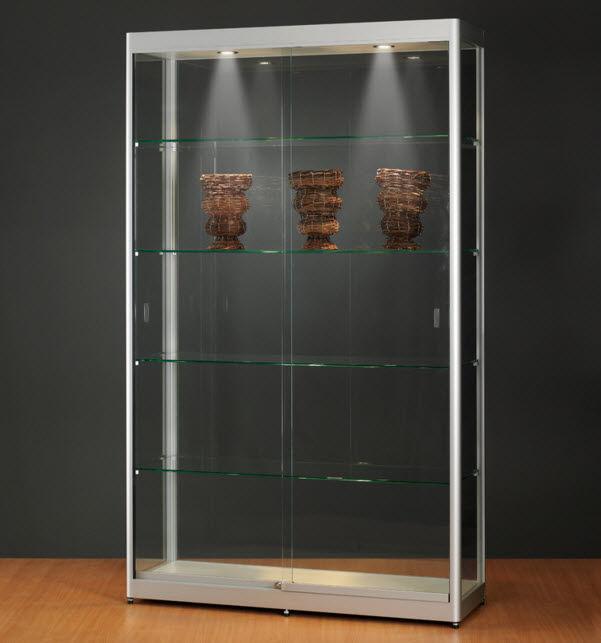 Moderne Vitrine / Glas / Holz / anodisiertes Aluminium - 315 1200 ...