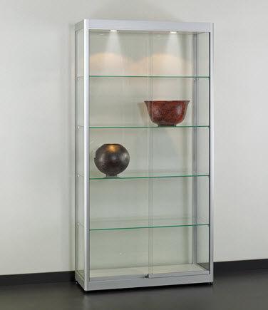 Moderne Vitrine / Glas / Holz / anodisiertes Aluminium ...
