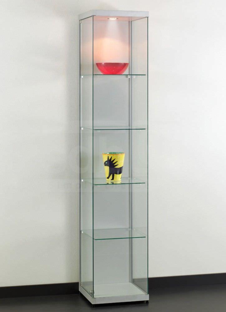 Moderne Vitrine / Glas / aus anodisiertem Aluminium / beleuchtet ...