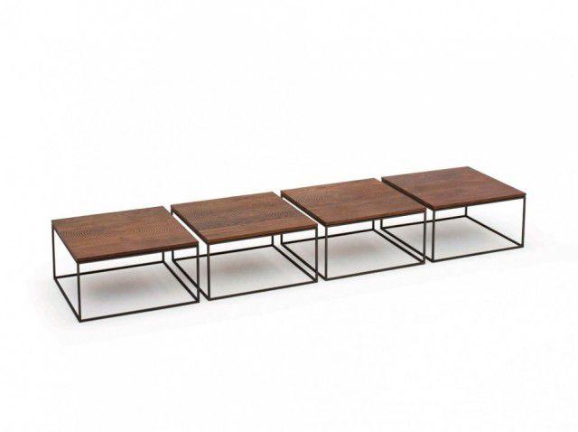Moderner Couchtisch Holz Metall Quadratisch Log By Roderick
