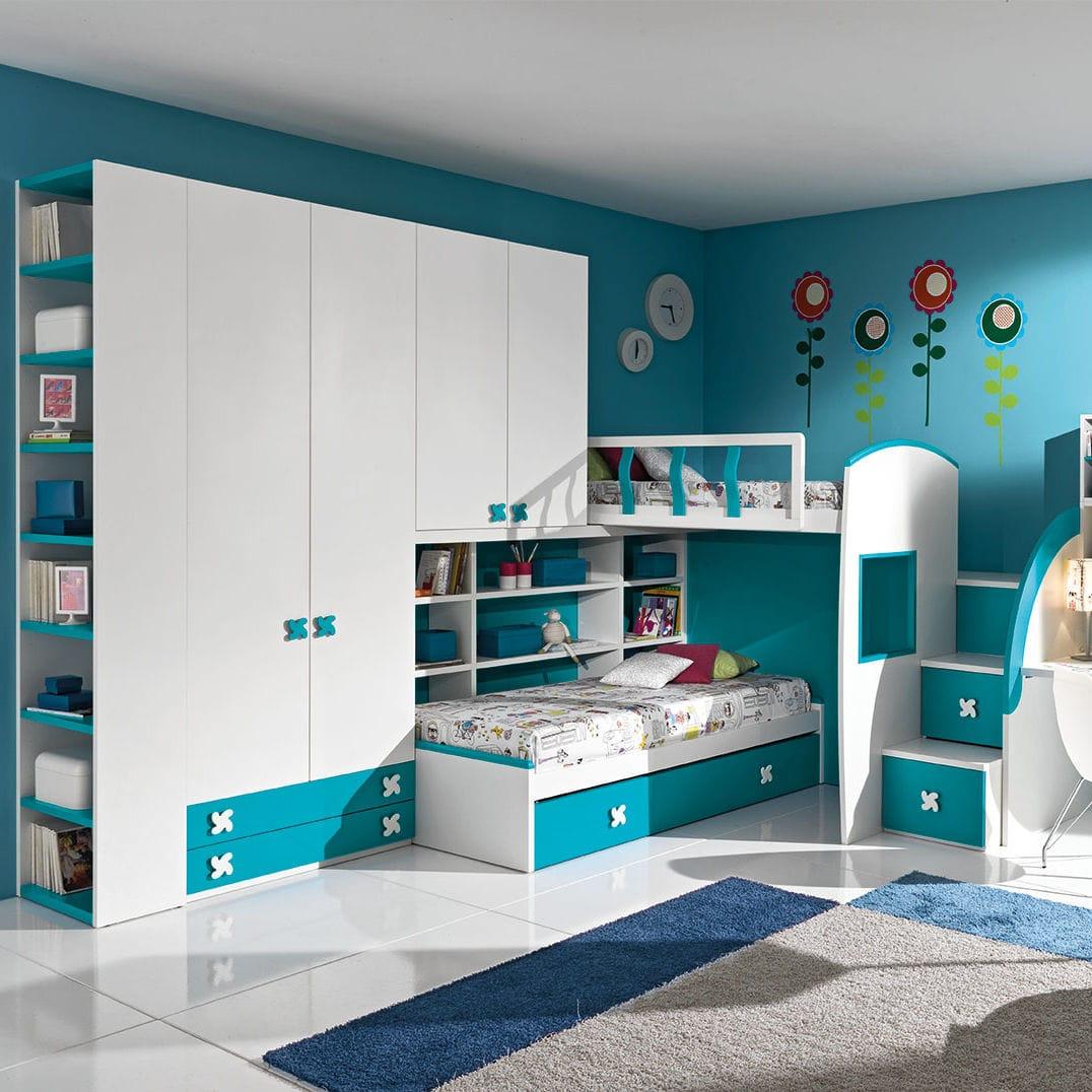 Weisses Kinderzimmer Blau Holz Fur Jungen Cm11 Giessegi