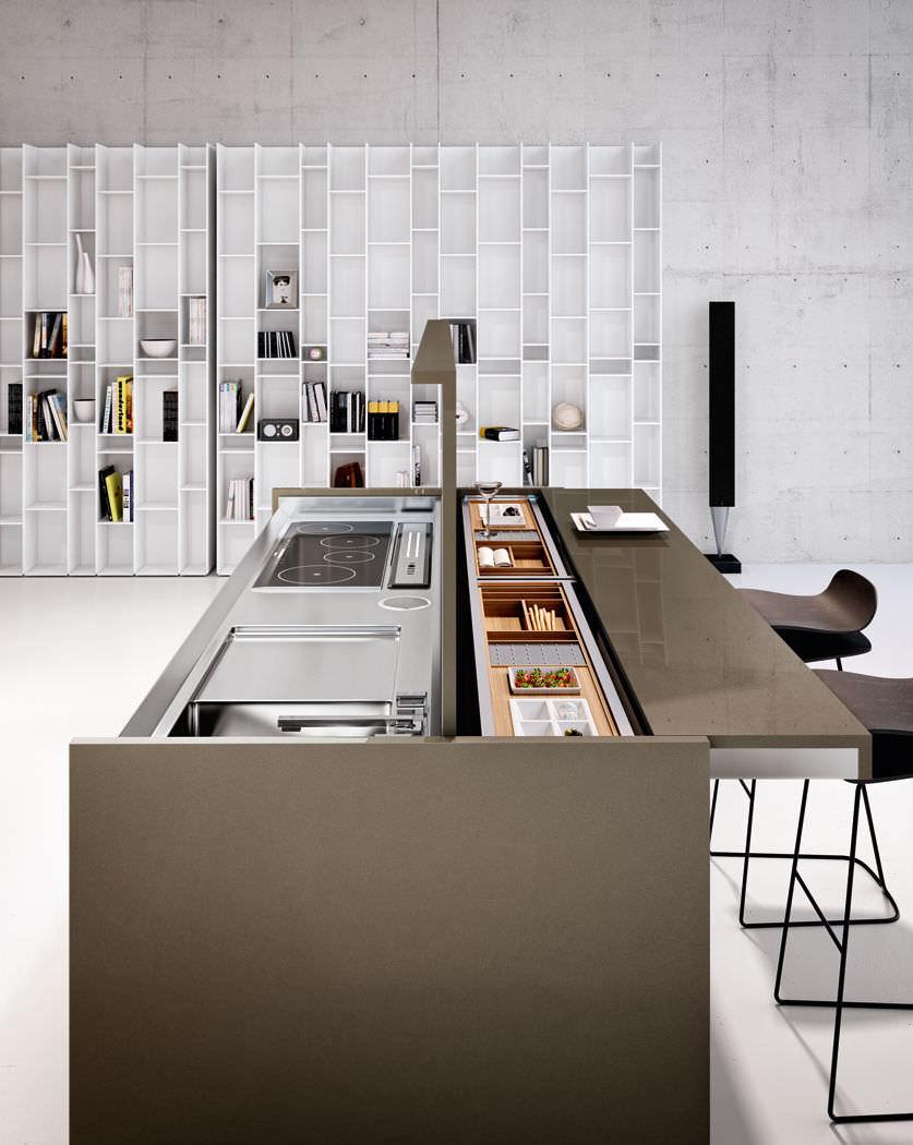 Moderne küche / holz / kochinsel / versteckte   arca   lineaquattro