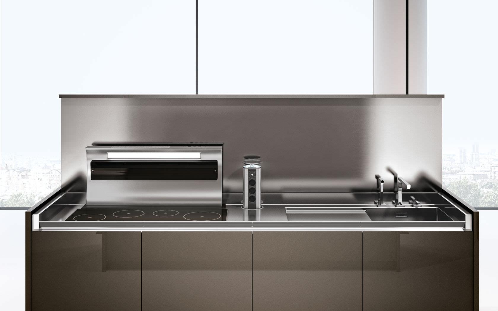 Moderne Küche / Holz / Kochinsel / Versteckte - ARCA - Lineaquattro