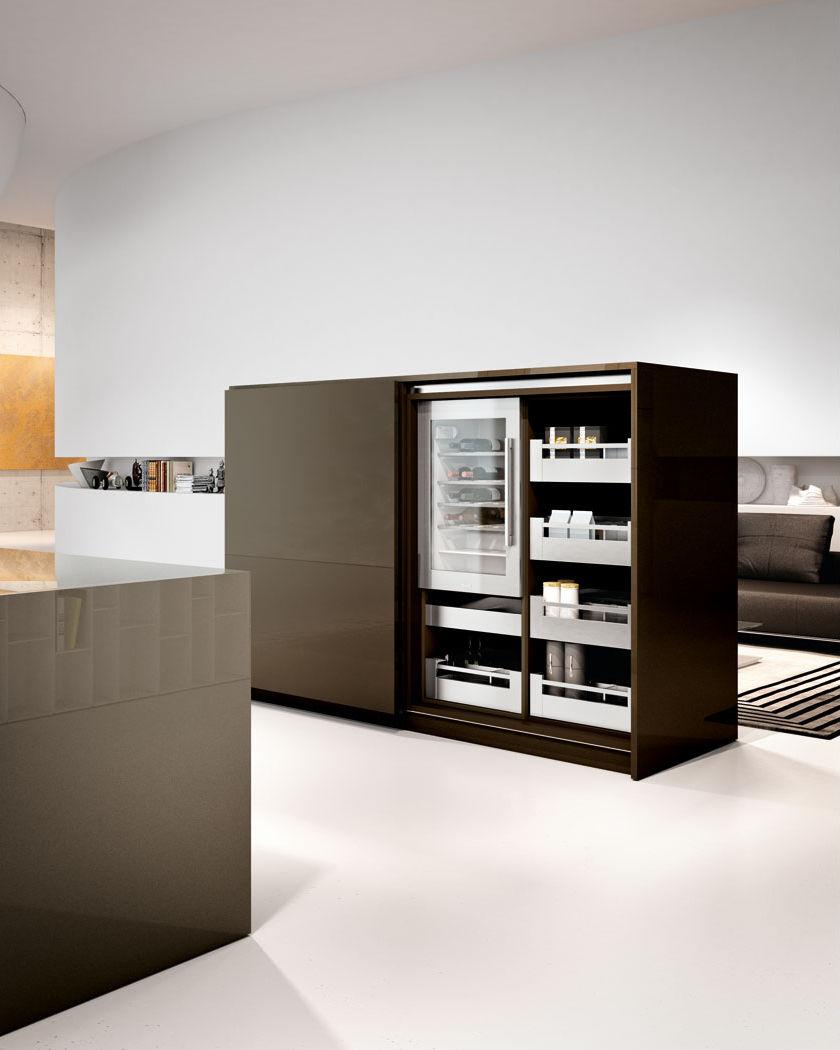 Moderne küche holz kochinsel versteckte arca lineaquattro