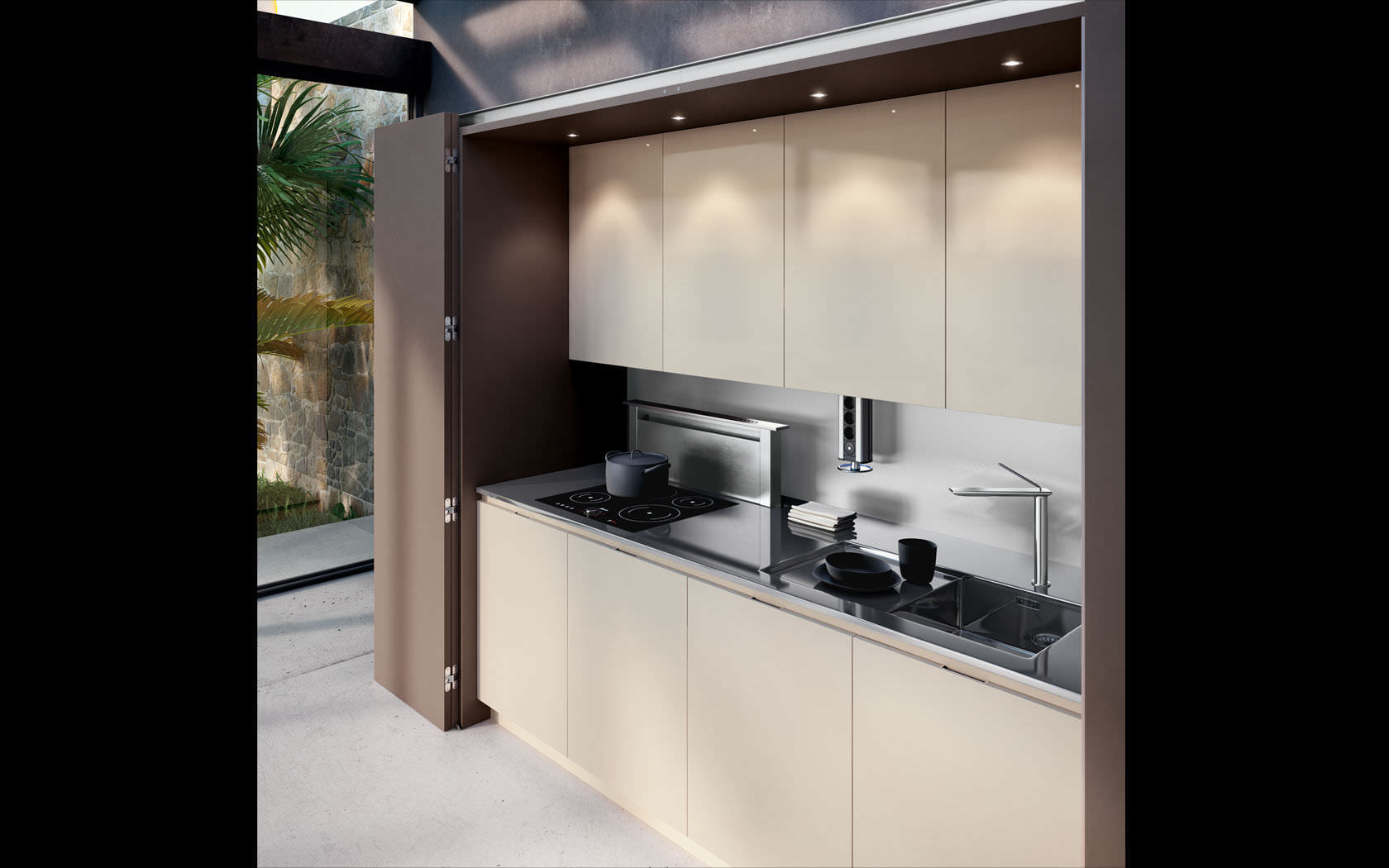 Moderne küche holz versteckte metamorphosis lineaquattro