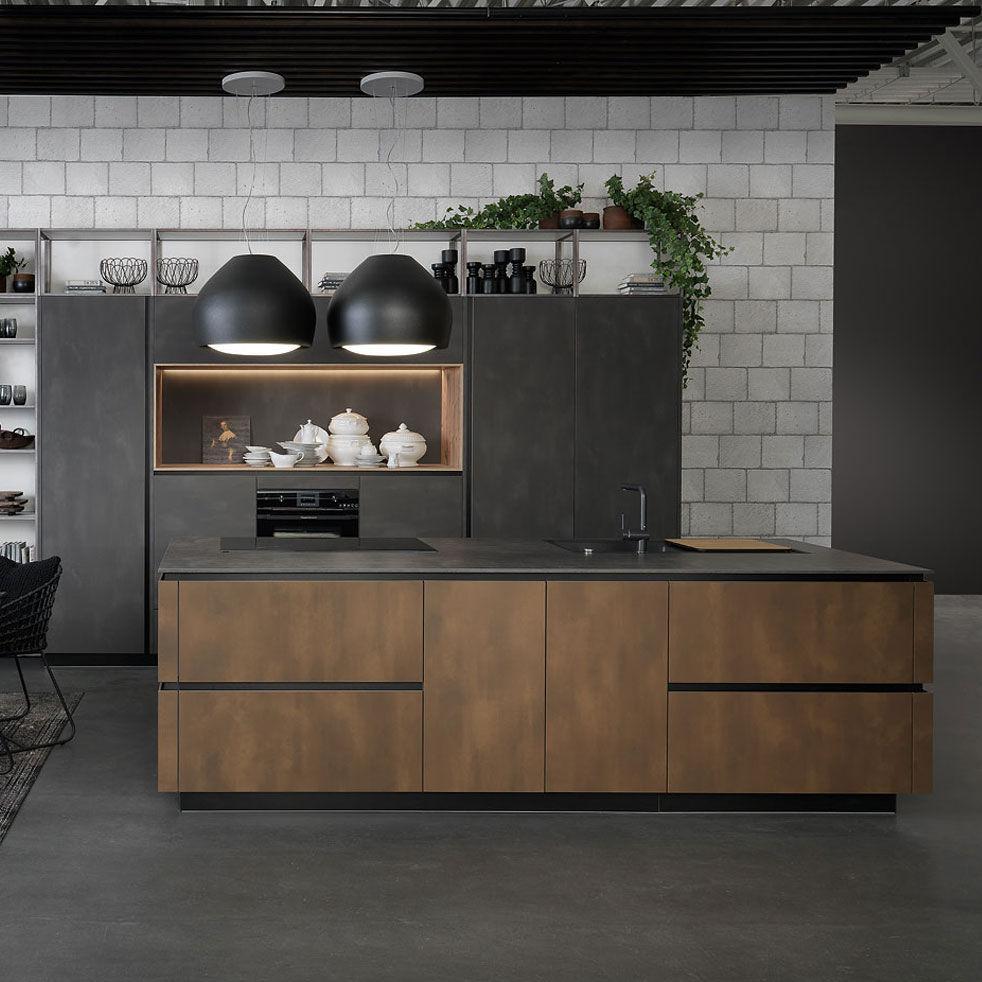 Moderne Kuche Holzfurnier Lackiertes Holz Metall Tio