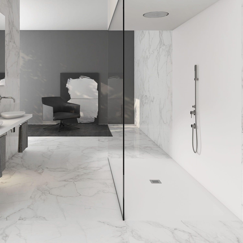 rechteckige duschwanne / mineralwerkstoff / bodengleich - nature