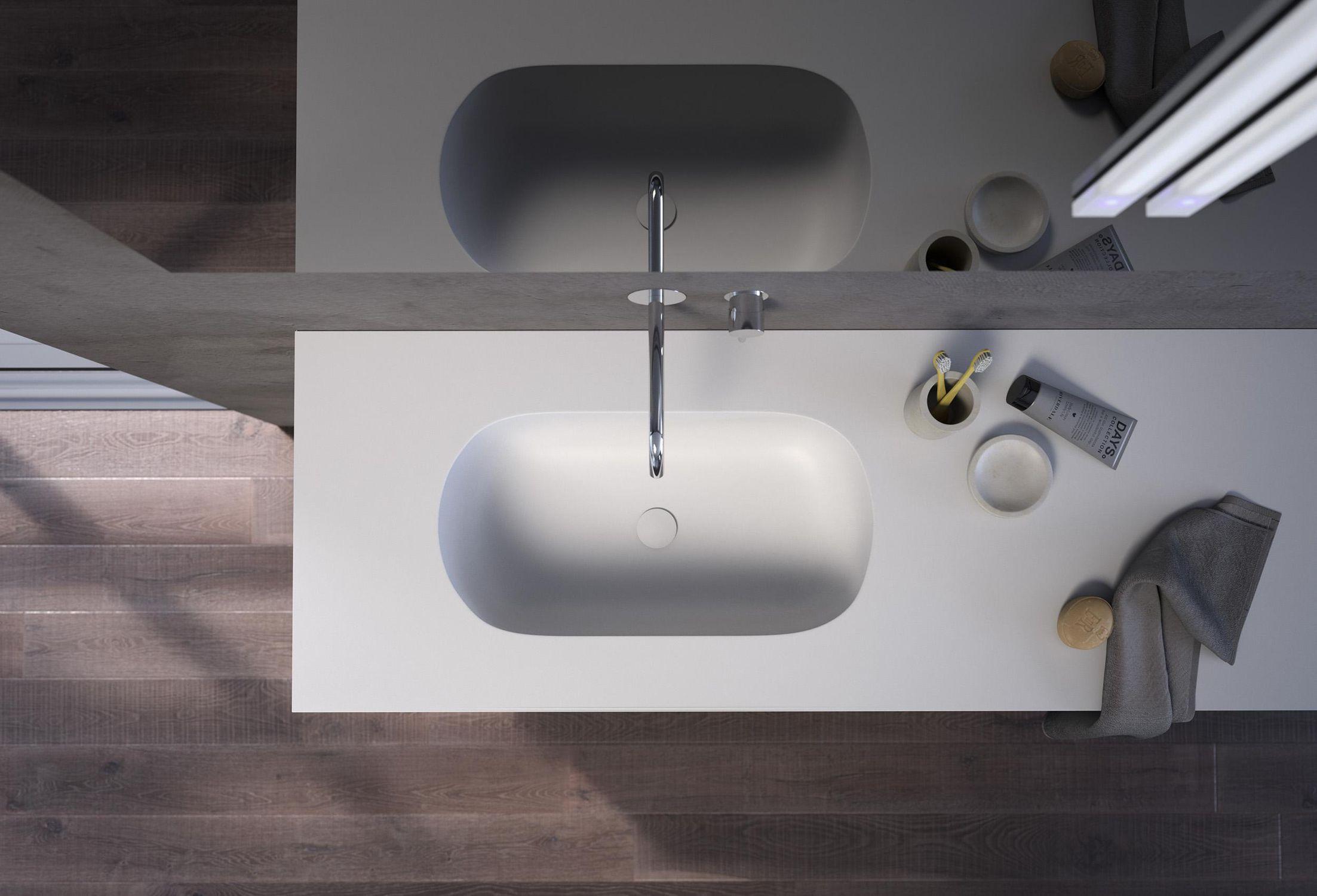 Wand-Waschbecken / rechteckig / aus Corian® / modern - MODULA - F ... | {Waschbecken rechteckig mit unterschrank 54}