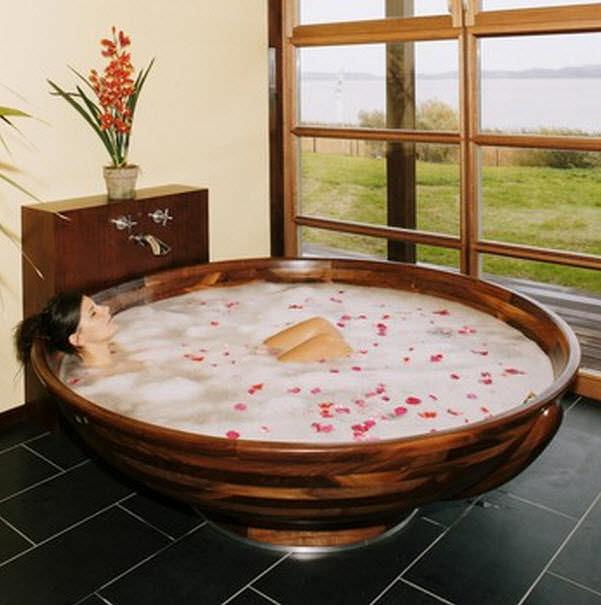 Freistehende Badewanne Rund Holz Madera M5 Ws Bath Collections
