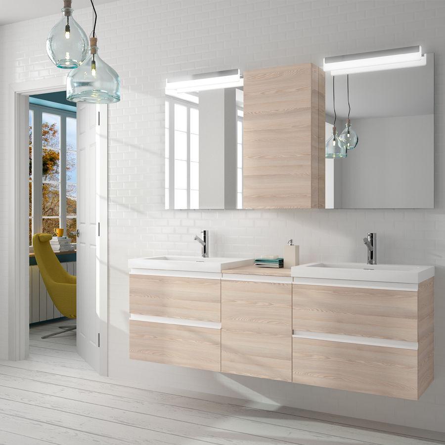 Doppelter Waschtischunterschrank / hängend / Holz / modern ... | {Waschtischunterschrank modern 56}
