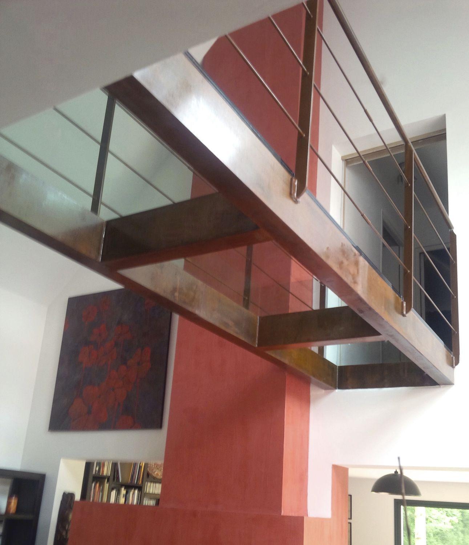 Balkenübergang / Stahl / aus Glas / feststehend - PASSERELLE VERRE ...