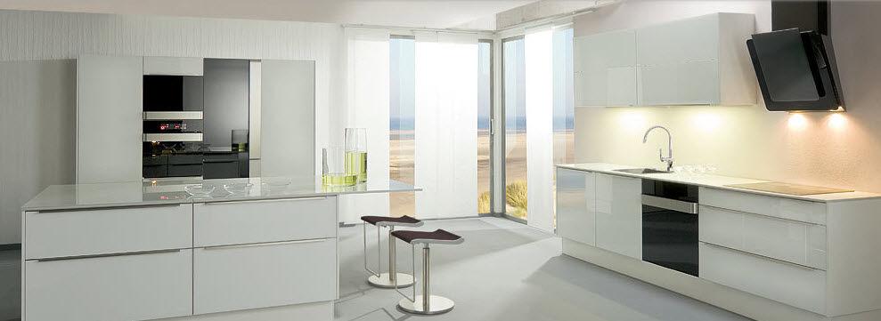Moderne Kuche Glas Lackiert Mit Integriertem Griff Saphir