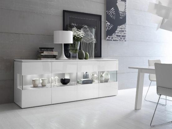 Sideboard holz glas  Modernes Sideboard / Holz / lackiertes Holz / Glas - TRILOCY - Le ...