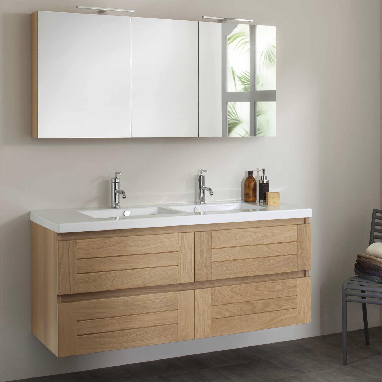 Waschtischunterschrank hängend  Doppelter Waschtischunterschrank / hängend / aus Eiche / modern ...