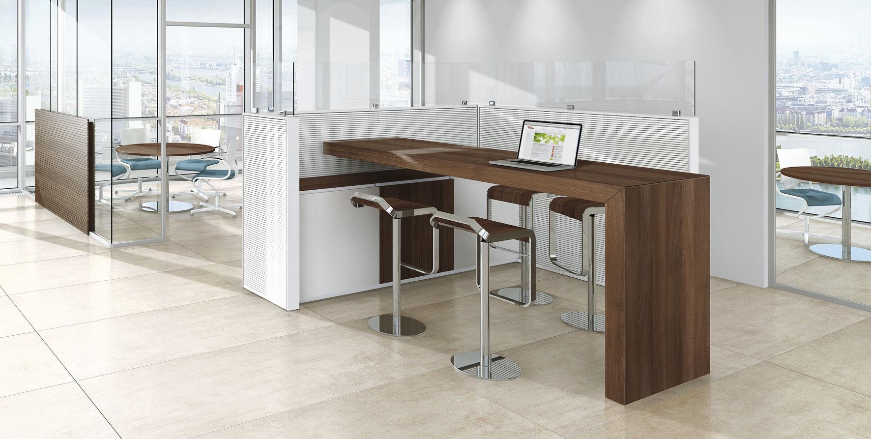 Bodenstehende Bürotrennwand / für Theken / Stoff / Holz - VITECO ...