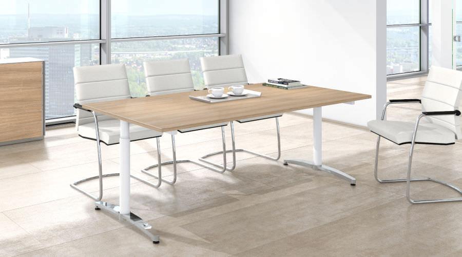 Moderner Besprechungstisch Holz Metall Melamin Canvaro