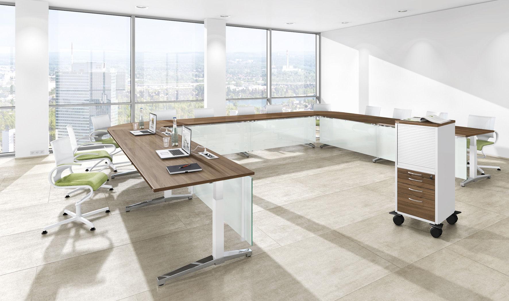 Moderne modulare büromöbel  Moderner Besprechungstisch / Holz / Metall / Melamin - CANVARO ...