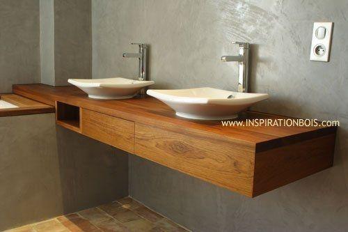 Waschtischunterschrank holz hängend  Doppelter Waschtischunterschrank / hängend / Holz / modern ...