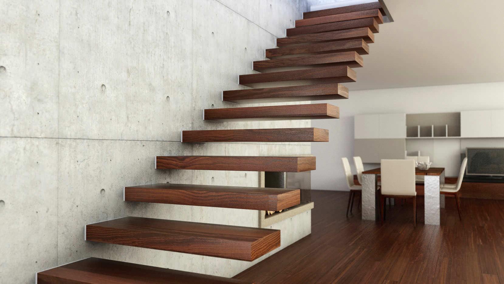 Gerade Treppe / Holzstufen / ohne Setzstufe / modern - 800 - Interbau
