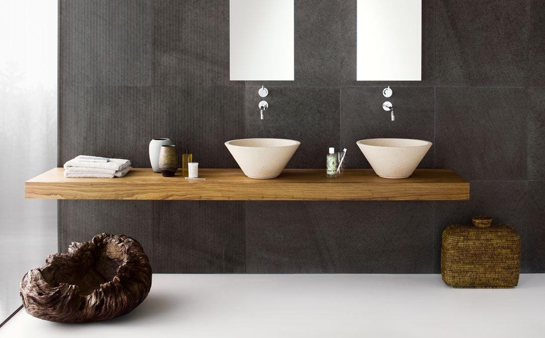 Neutra Waschbecken aufsatzwaschbecken rund aus naturstein modern flute series