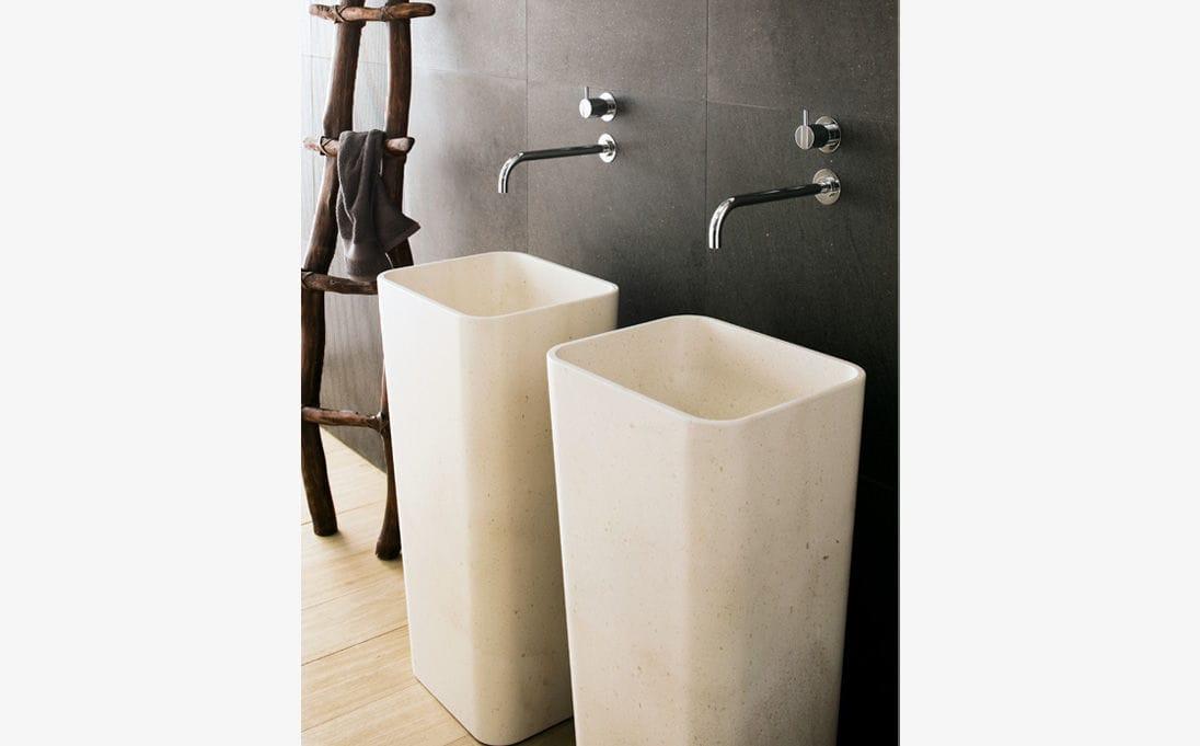Neutra Waschbecken freistehendes waschbecken wand rechteckig aus naturstein duo