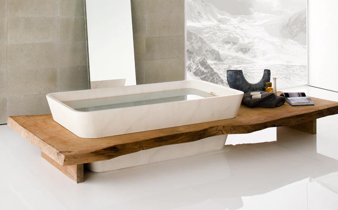 Freistehende badewanne holz  Freistehende Badewanne / aus Naturstein / Holz - DUO SERIES by ...