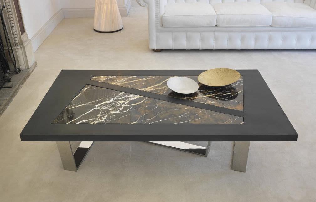 Moderner couchtisch aus marmor rechteckig quadratisch
