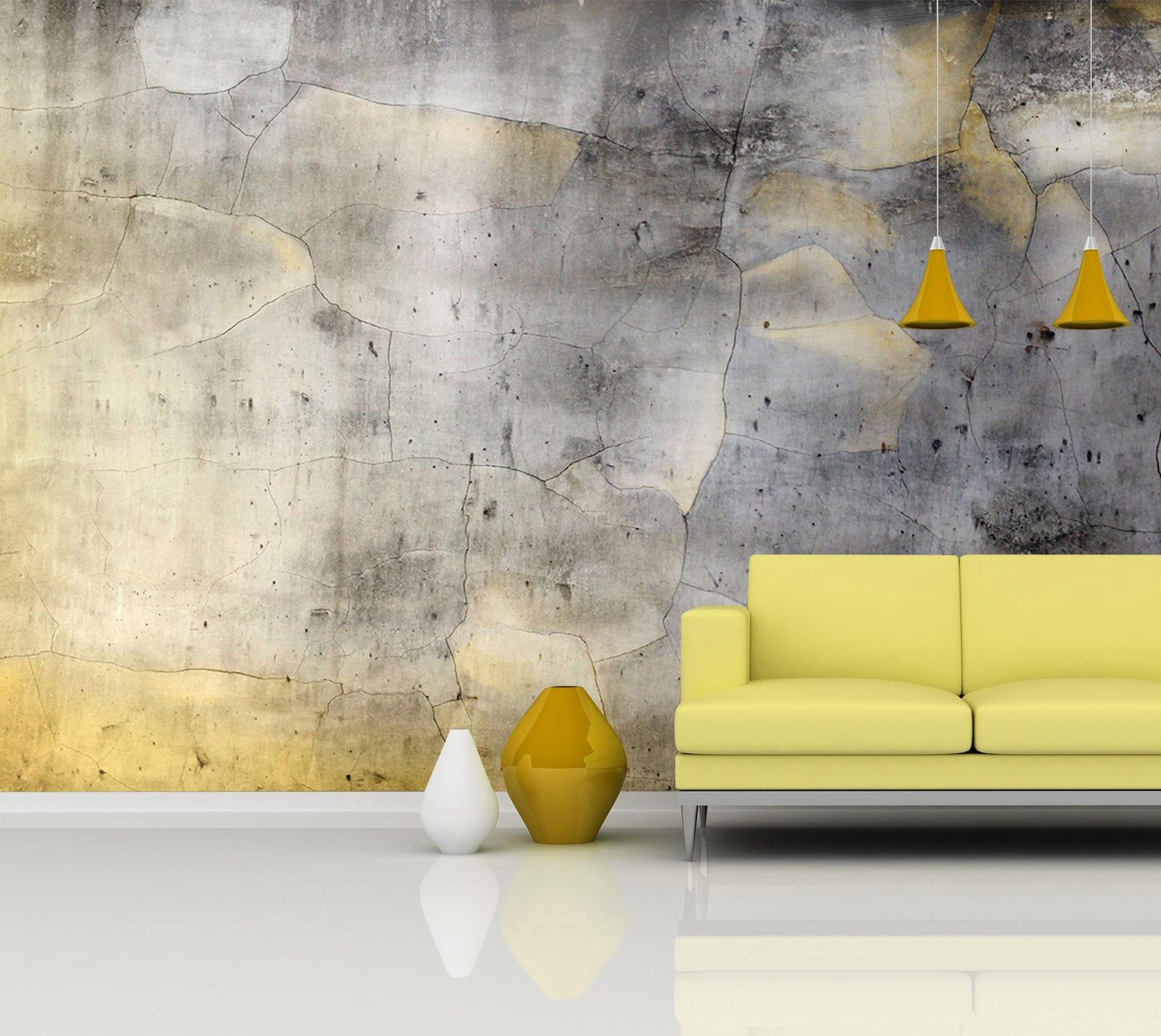 moderne tapete / mit städtischen motiven / betonoptik - bm181 gold 2