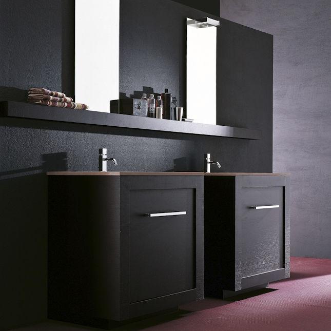Doppelter Waschtischunterschrank / freistehend / Holz / modern ... | {Waschtischunterschrank freistehend 24}