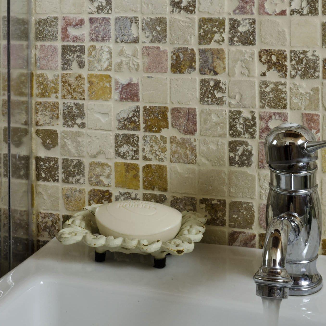 Mosaikfliese Für Badezimmer / Wand / Aus Naturstein / Uni   3X3 CORAL MIX