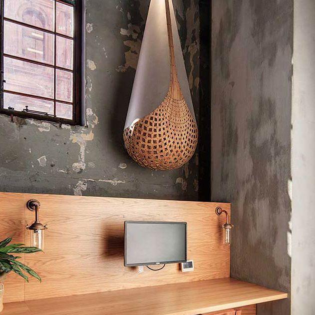 Hangelampe Modern Aus Bambus Aus Sperrholz Basket David