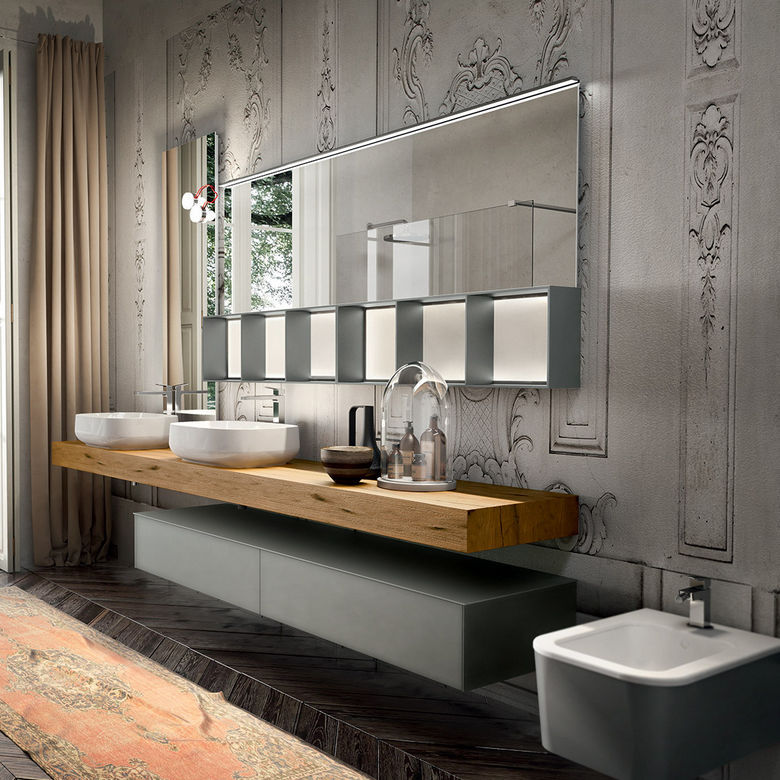 Doppelter Waschtischunterschrank / hängend / Holz / modern - ENEA ... | {Waschtischunterschrank modern 0}