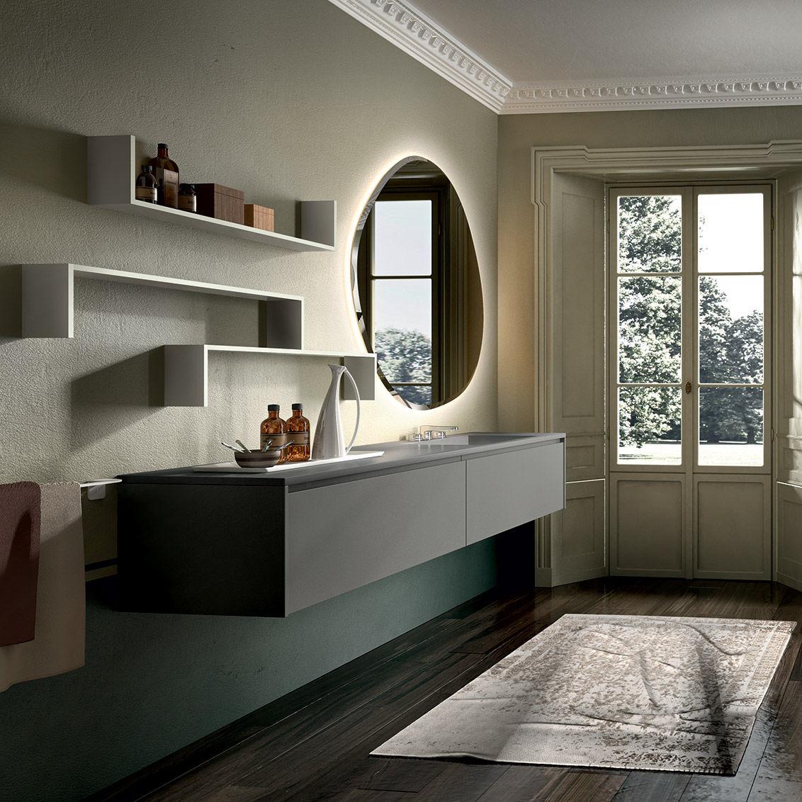 Hängend-Waschtischunterschrank / Holz / modern / mit Ablage - EOS ... | {Waschtischunterschrank modern 37}