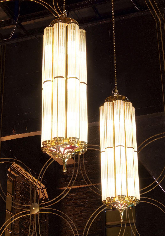 Hängelampe Art Deco Stil Glas Glühlampen Monaco Artb33