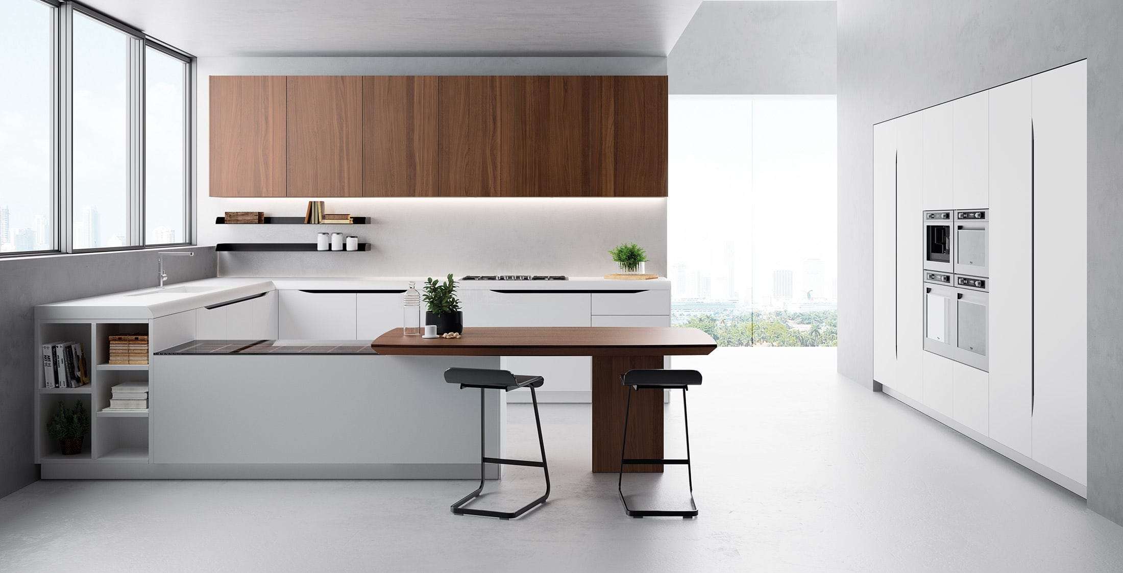 Moderne Küche / Holz / Stahl / L-förmig - MIAMI - Biefbi Cucine