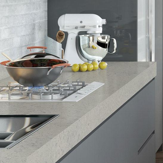 Quarz Arbeitsplatte Kuchen Beige Concrete Compac The Surfaces