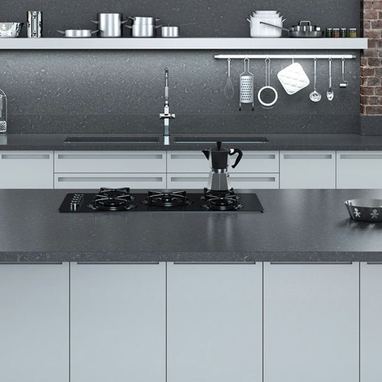 Quarz Arbeitsplatte Kuchen Dark Concrete Compac The Surfaces