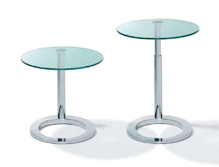 Beistelltisch glas höhenverstellbar  Moderner Beistelltisch / Glas / rund / oval - K 442 by Wolfgang ...