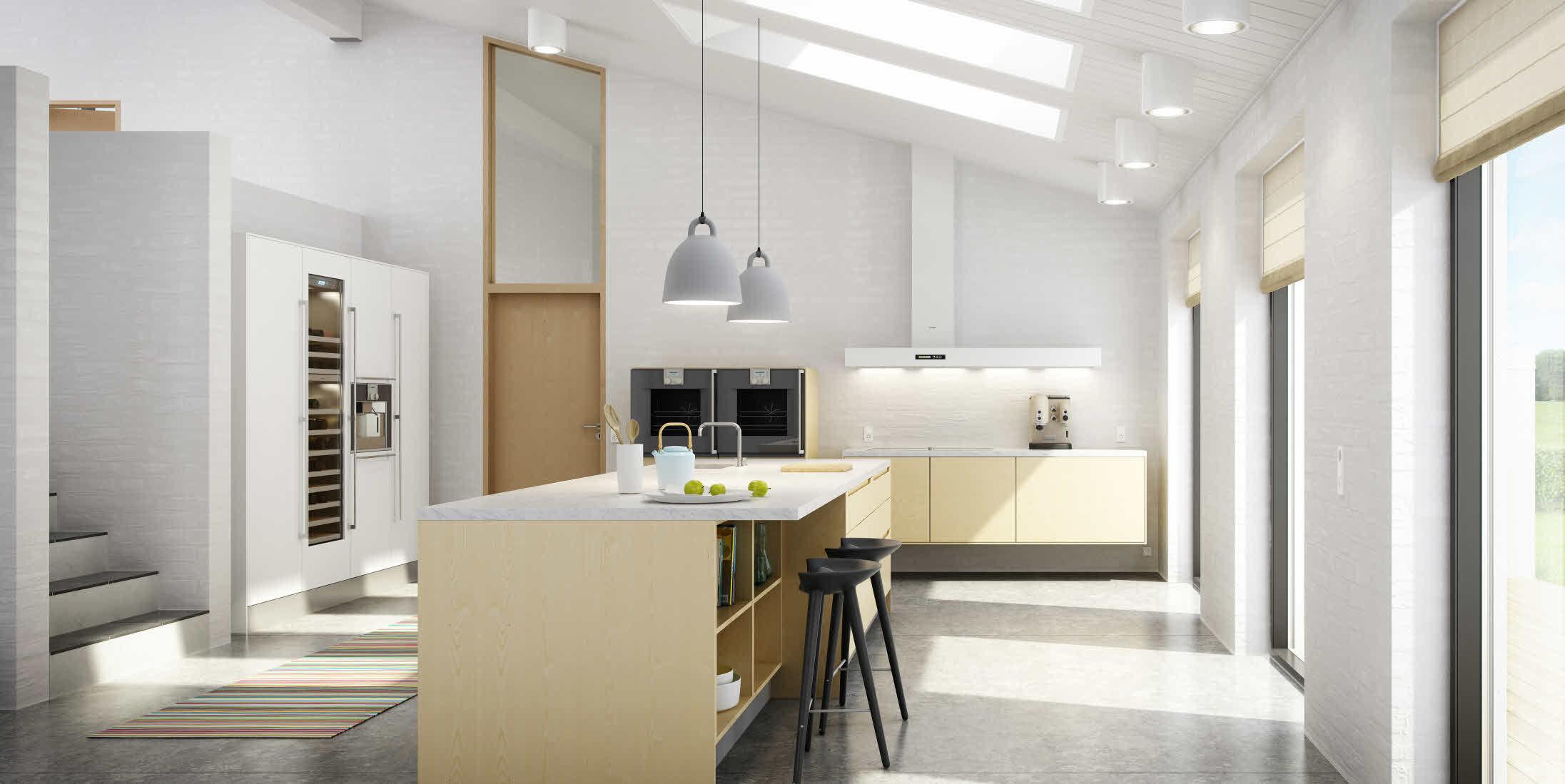 Moderne küche / esche / nussbaum / kochinsel   i series   uno form