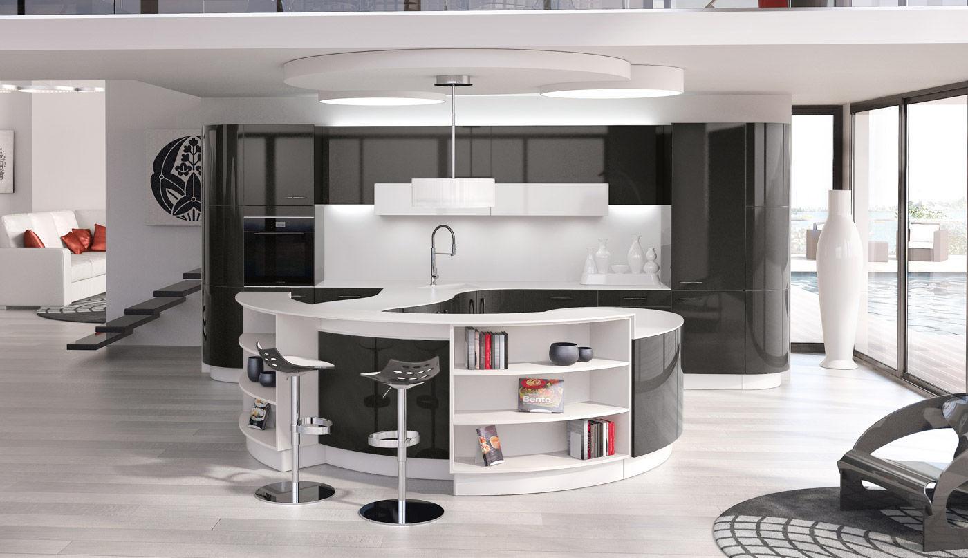 Moderne Küche / Melamin / Kochinsel / rund - AUDACE DU GALBE - PERENE