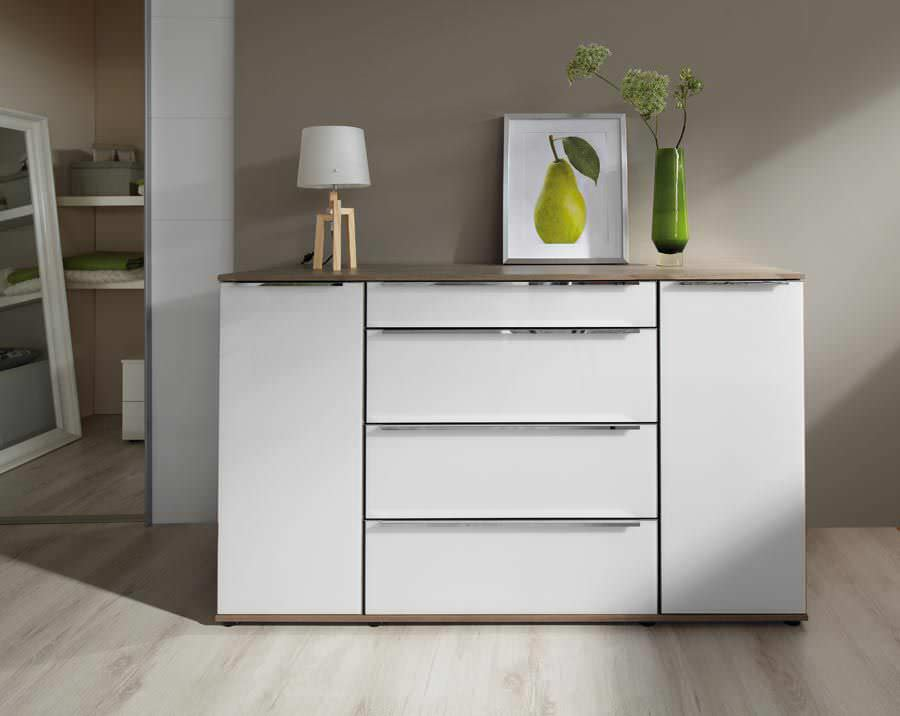 Moderne Kommode Holz Lackiertes Holz Weiss Acero Nolte