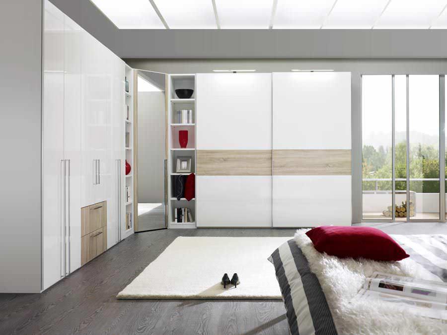 Moderner Kleiderschrank / Holz / Schiebetüren / mit Bücherregalen ...