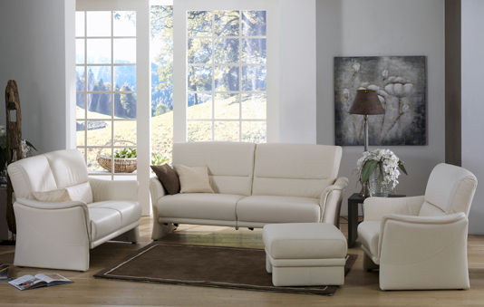 Klassisches Sofa / Leder / 2 Plätze / weiß - TANGRAM : 9553 ...