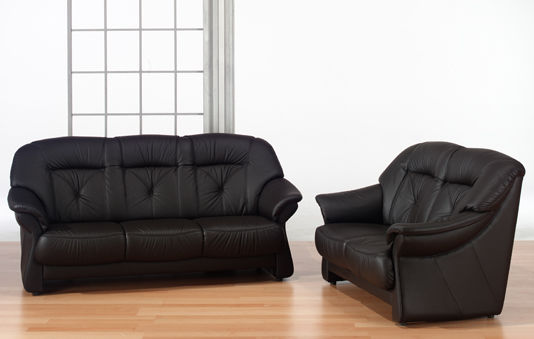 Klassisches Sofa / Leder / 3 Plätze / schwarz - TANGRAM : 9558 ...