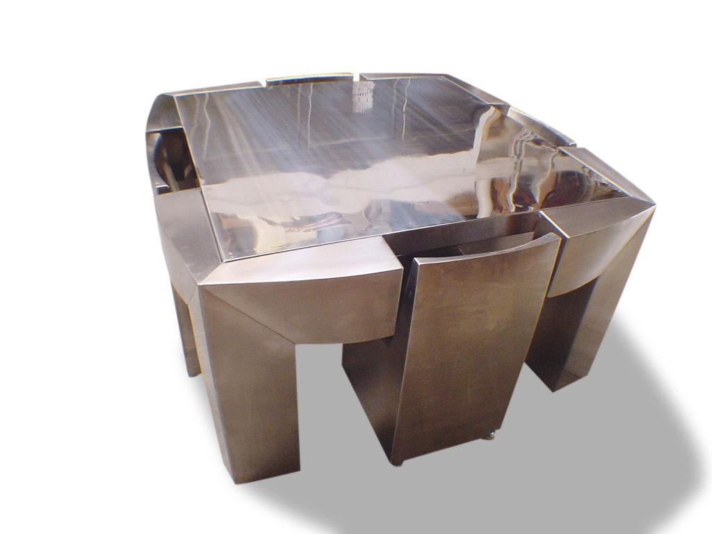 Tisch design  Tisch- und Stuhlkombination / originelles Design / Edelstahl ...
