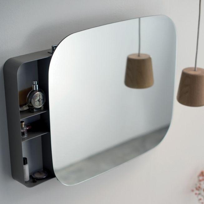 Wandmontierter Spiegel Für Badezimmer / Mit Stauraum / Modern / Metall ...
