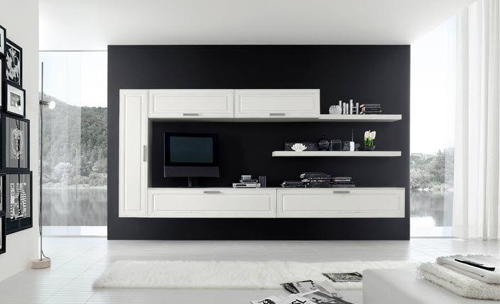 Moderne Wohnwand Style : Moderne wohnwand lackiertes holz new style ks h