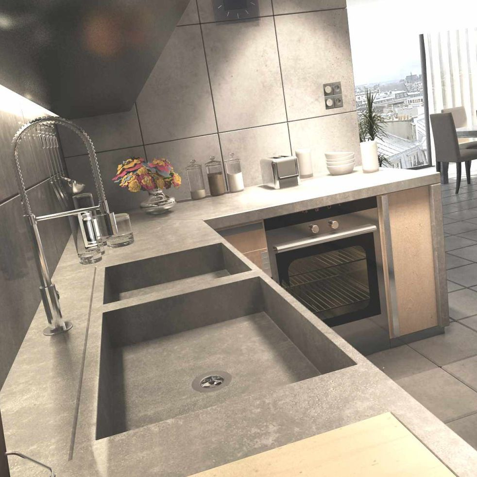 arbeitsplatte / bfuhp ductal© beton / küchen - epaisseur 5 - balian