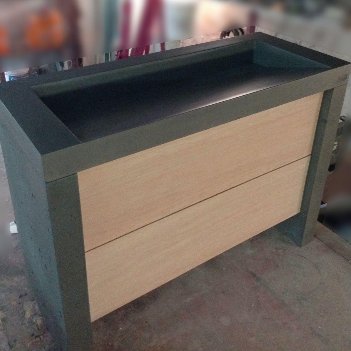 Freistehender Waschtisch Unterschrank Holz Aus Zement Modern